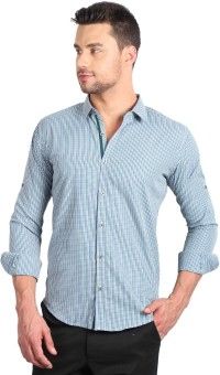 Solemio Men's Checkered Formal Green Shirt