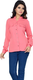 Ishin Pink Women's Solid Party Shirt