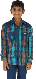 Fuzion Boy's Checkered Casual Denim Light Blue Shirt
