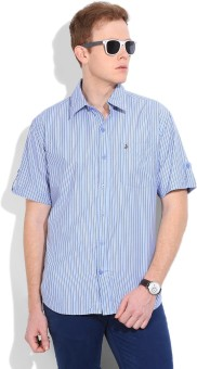 John Players Men's Striped Casual White, Grey, Light Blue Shirt