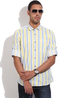 John Players Men's Striped Casual White, Blue, Yellow Shirt