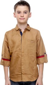 Mash Up Boy's Solid Casual Linen Beige Shirt