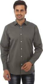 GAVINO Men's Solid Casual Grey Shirt