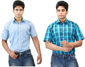Relish Men's Solid, Checkered Formal, Casual Light Blue, Blue, Dark Blue, Green Shirt Pack Of 2