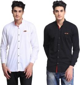BRAVEZI Men's Printed Casual White, Black Shirt