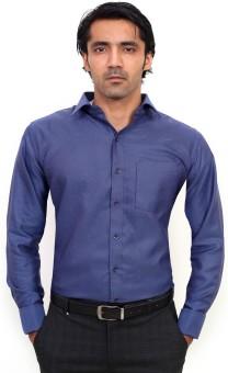 La Mode Formal Blue Regular Fit Men's Solid Formal Shirt