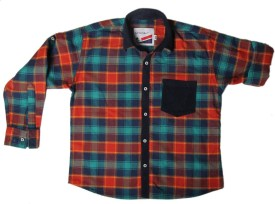 Little Man Boy's Checkered Casual Red, Blue Shirt