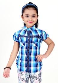 Gee & Bee Girl's Woven Casual Multicolor Shirt