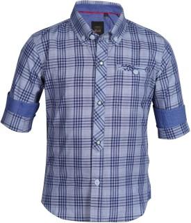 Gini & Jony Boy's Checkered Casual Blue Shirt