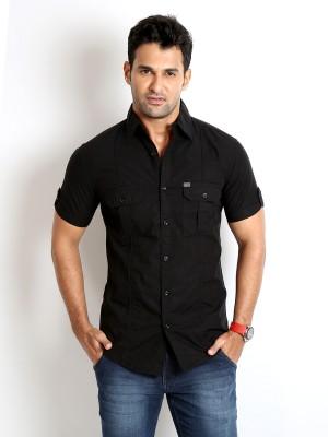 Rodid Men's Solid Casual Black Shirt