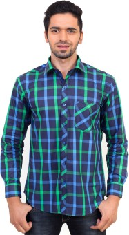 La Mode Regular Fit Blue-Green Men's Checkered Casual Shirt