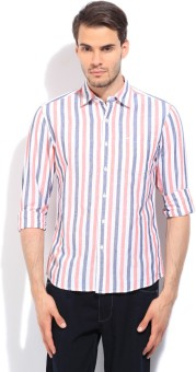 Lee Men's Striped Casual White, Pink Shirt