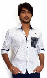 PP Shirts Men's Printed Party, Casual White, Blue Shirt