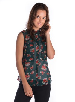 Miss Rich Women's Floral Print Casual Shirt