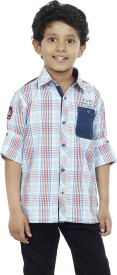 OKS Boys Boy's Checkered Casual Red Shirt