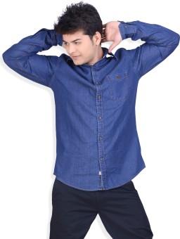 Speak Dark Blue Polplin Denim Cotton Trendy Men's Solid Casual, Party Shirt