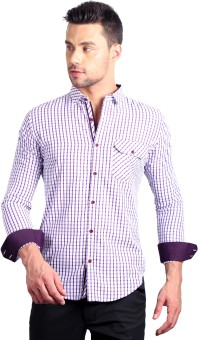 Solemio Men's Checkered Formal Maroon Shirt