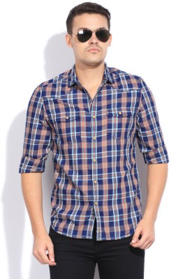 Bossini Bossini Men's Checkered Casual Shirt (Brown)