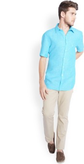 Parx Men's Solid Casual Linen Light Blue Shirt