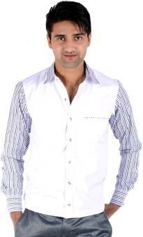 S9 Men's Checkered Casual, Formal White, Blue, Brown Shirt