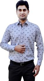 Indian Weller Men's Printed Formal Blue Shirt