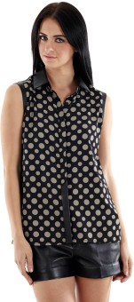 Fuziv Faux Leather Detail Printed Women's Polka Print Casual Shirt