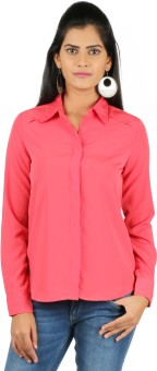 22nd Street Pink Women's Solid Casual Shirt