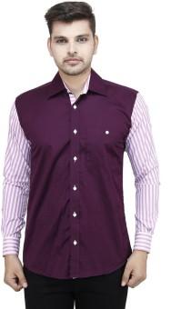 Swiss Culture Men's Striped Casual Purple, Pink Shirt