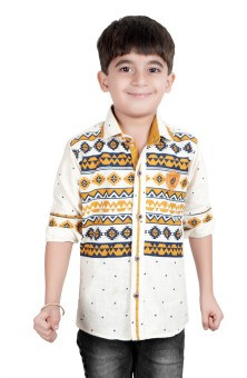 Ice Blue Boy's Floral Print Casual Shirt