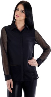 Fuziv Mesh Detail Black Women's Solid Casual Shirt