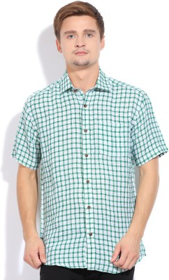 Blackberrys Blackberrys Men's Checkered Casual Linen Shirt (Green)
