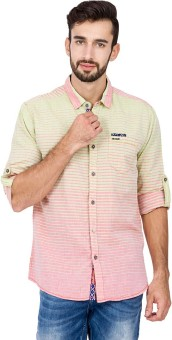 The Indian Garage Co. Men's Striped Casual Green, Pink Shirt
