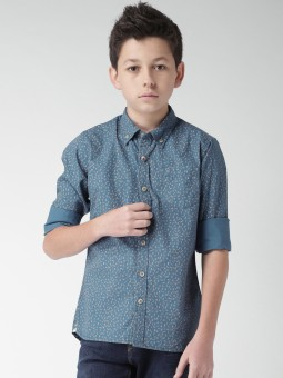 WROGN For Tweens Boy's Printed Casual Blue Shirt