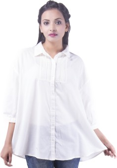 Goodwill Impex White Women's Solid Casual Shirt