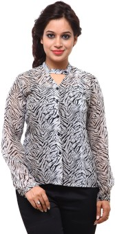 Fbbic Grey Black Leopard Shirt Women's Printed Casual Shirt