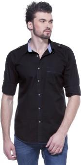 Zovi Regular Fit Jet Black With Epaulettes At Shoulder Men's Solid Casual Shirt
