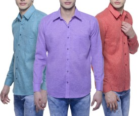 Aligatorr Men's Solid Formal Linen Red, Purple, Light Green Shirt Pack Of 3