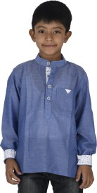 Twin Twine Boy's Solid Casual Blue Shirt