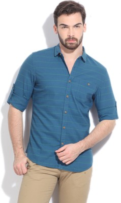Bossini BOSSINI Men's Striped Casual Shirt (Blue)