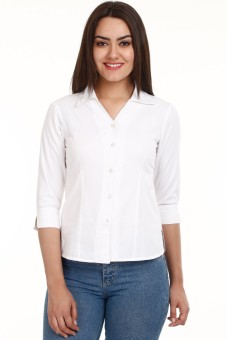 Mustard White Women's Solid Casual Shirt
