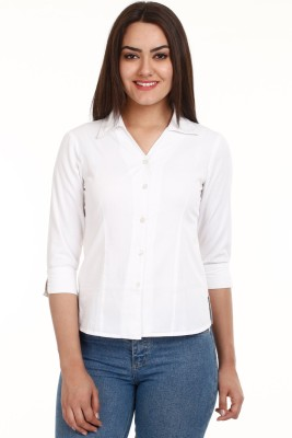 Mustard Mustard White Women's Solid Casual Shirt