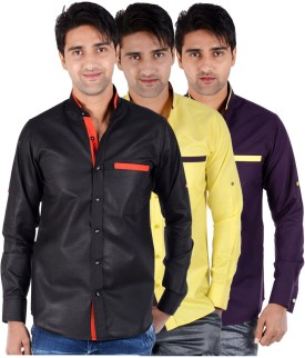S9 Men Men's Solid Formal, Festive, Party Shirt Pack Of 3