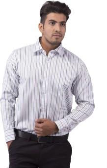 Indian Weller Candid Bone White Men's Striped Formal Shirt