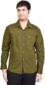 British Terminal Men's Solid Casual Green Shirt
