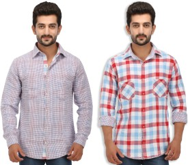 Speak Men's Checkered Casual, Party Reversible Red Shirt
