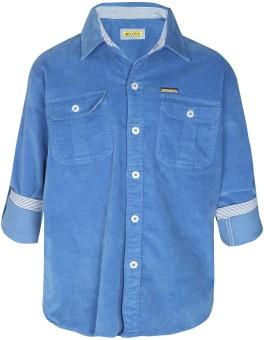 Gini & Jony Boy's Solid Casual Blue Shirt