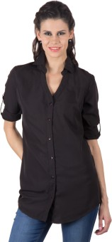Trend Arrest Roll Up Sleeves Women's Solid Casual Shirt
