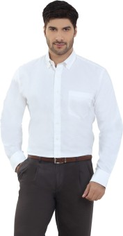 The Stiff Collar White Oxford Full Sleeves Button Down Regular Fit Men's Solid Formal Shirt