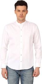 Mayank Modi Men's Solid Casual White Shirt