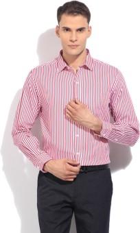 John Players Men's Striped Formal White, Pink Shirt